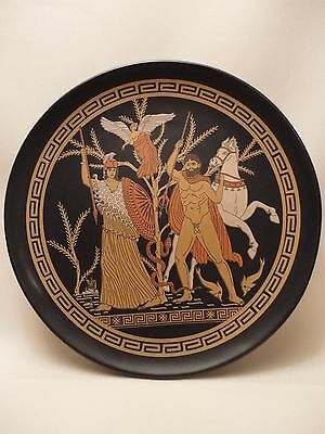 Greek Mythology Goddess Athena & Poseidon  Rare Ancient Greek Art Pottery Plate