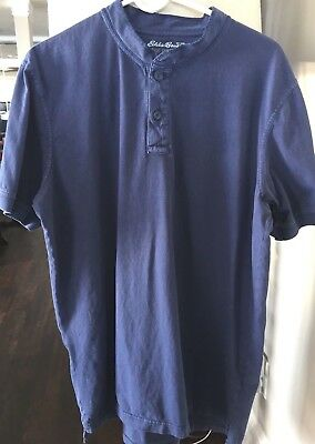 Mens Eddie Bauer Short Sleeve Jersey/tee Size Large Tall Henley Button Front