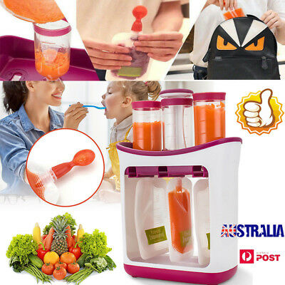 Baby Feeding Food Squeeze Station Toddler Infant Fruit Maker Dispenser Storage G