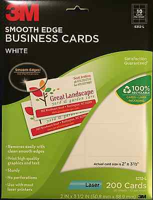 """3M Smooth Edge Business Cards White S212-L 2"""" x 3 1/2"""" 200 Cards"""