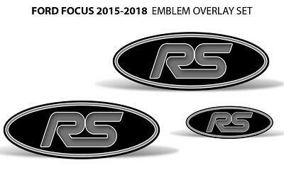 Oval Badge Emblem Logo Overlay Sticker Decals For Ford Focus RS 15-18 GREY BLACK