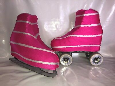 Pink white Stripe Boot Covers for Roller Skates/Ice Skates LARGE  ONLY
