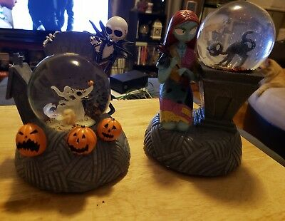 Two NBC Nightmare Before Christmas Snow Globes Jack, Sally Great Condition