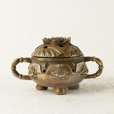 Chinese Old Brass Incense Burner Hand Carved Lotus W XuanDe Mark GL196