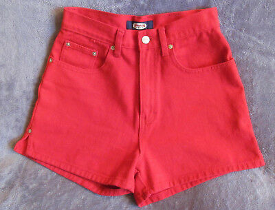 "Vintage NWOT JORDACHE 80s 90s High Waist Mom Jeans RED Denim Shorts SMALL 27"" W"