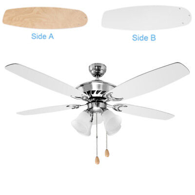 52 inch Ceiling Fan with Five White Wooden Blades and 4 Light Fixture Indoor
