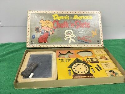 Vintage Dennis The Menace Chalk And Slate Board w/ Clock Cut Out