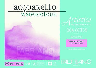 Fabriano Artistico 100% Cotton Water Colour Pads 12 Sheets-Hot Pressed 300g A2