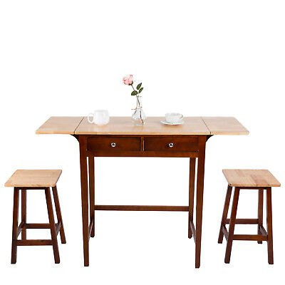 Dining Set 3 PC Wood Breakfast Nook Bistro Double Drop Leaf Table Kitchen Stool
