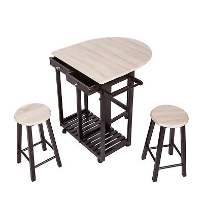 3 PC Wood Breakfast Nook Dining Set Kitchen  Island Rolling Cart Drop Leaf Table