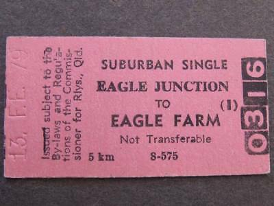 EAGLE JUNCTION to EAGLE FARM SUBURBAN SINGLE  TICKET QUEENSLAND RAILWAYS