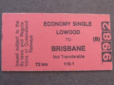 LOWOOD to BRISBANE ECONOMY SINGLE TICKET - QUEENSLAND RAILWAYS