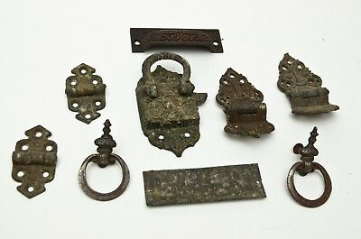 Victorian  Latch Joint Union Plate Cabinet Pull handle Brass Antique Hardware