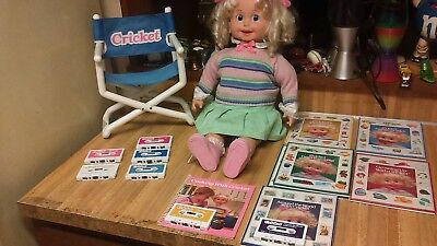 Vintage Playmates Cricket Doll,Directors Chair,Books&Tapes,works,vg!