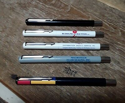 LOT 5 Vintage Parker VECTOR ROLLERBALL PENS USA Macrotech Sales Geometric Black