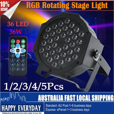1/2/5 RGB 36 LED Par Stage Light Digital DMX512 DJ Spot Party Disco Bar + Remote