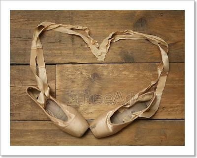 Pair Of Ballet Shoes On Wooden Floor Art Print Home Decor Wall Art Poster - I