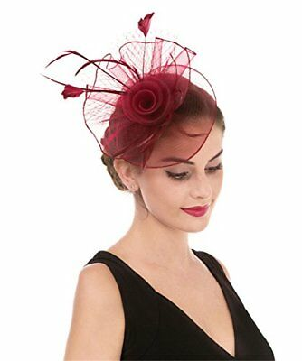 c44904044 LUCKY LEAF WOMEN Girl Fascinators Hair Clip Hairpin Hat Feather ...