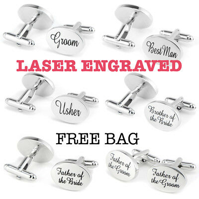 Silver Engraved Wedding Shiny Cufflinks Best Mens Oval Personalised Cuff Links