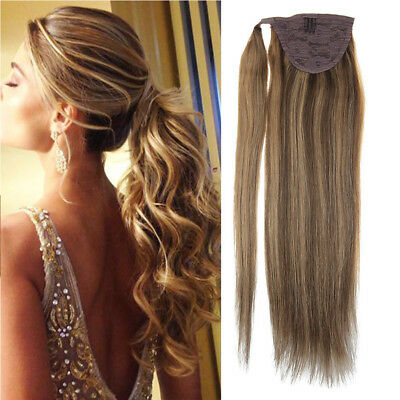 Sunny Ponytail Human Hair Extensions 80gr Dark Brown with Caramel Blonde #4/27