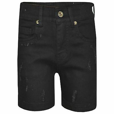 Kids Boys Denim Shorts Dark Blue Ripped Chino Bermuda Jeans Short Knee Length
