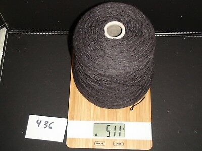 Knitting Machine Yarn On Cone 2 Ply Charcoal Wool Blend 511G