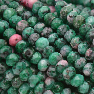 """15/"""" 2x4mm Green Zoisite Rondelle Hand Cut Faceted Loose Beads Small AAA"""