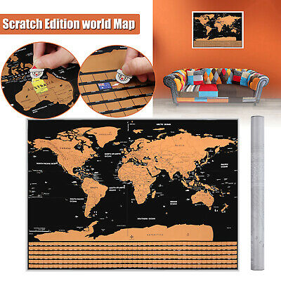 82 x 59CM BIG Scratch Off World Map Poster with States Country Flags Travel NEW