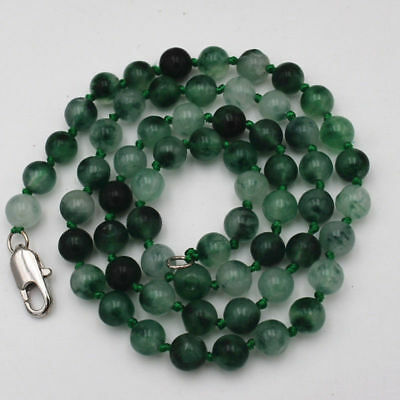 """Natural Noble Two-color New Jade Gemstone Necklace 18"""" 6MM"""