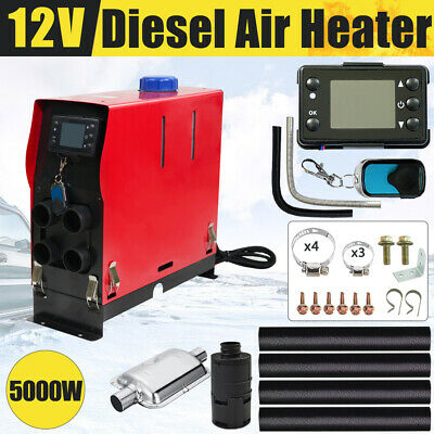 12V 5KW All IN 1 Diesel Air Heater Thermostat for Caravan Motorhome RV Trailer