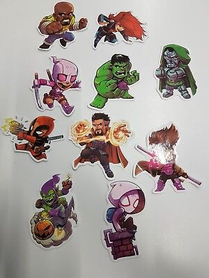 Lot of 10 Super Hero/Villain themed stickers including DeadPool and Hulk