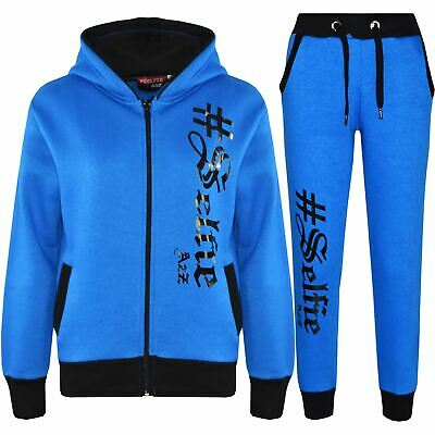 Kids Jogging Suit Boys Girls Designer #Selfie Hoodie & Bottom Tracksuit 7-13 Yr