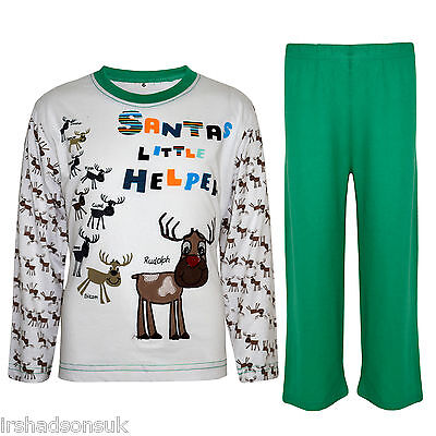 "Kids Girls ""SANTA'S LITTLE HELPER"" Christmas Pyjamas Reindeer Rudolph PJ's 1-8 Y"