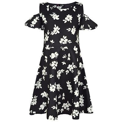 Kids Girls Skater Dress Floral White Summer Party Fashion Dresses New Age 2-8 Yr