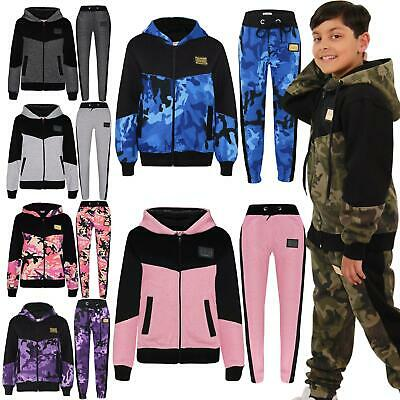 Kids Boys Girls Designer A2Z Camouflage Contrast Tracksuit Hooded Tops & Bottoms