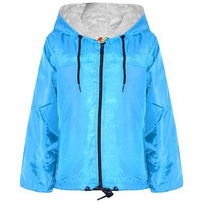 Kids Girls Boys Aqua Hooded Raincoats Cagoule Lightweight Jackets Rain Mac 5-13