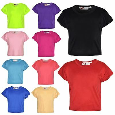 Girls Top Kids Plain Color Stylish Fahsion Trendy T Shirt Crop Top 7-13 Years