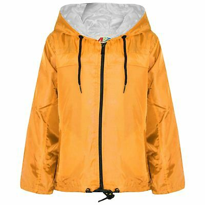Kids Girls Boys Mustard Hooded Raincoats Cagoule Lightweight Jackets Rain Mac