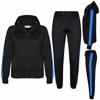 Kids Girls Boys Jogging Suit Plain Fleece Tracksuit Hooded Hoodie Bottom Joggers