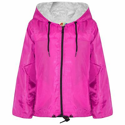 Kids Girls Boys Pink Hooded Raincoats Cagoule Lightweight Jackets Rain Mac 5-13