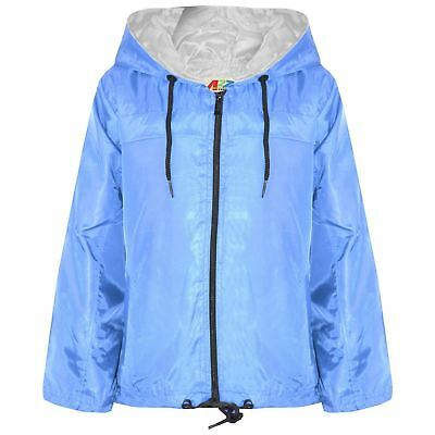 Kids Girls Boys Sky Blue Hooded Raincoats Cagoule Lightweight Jackets Rain Mac