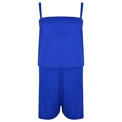 Kids Girls Plain Blue Color Playsuit Trendy All In One Jumpsuit New Age 5-13 Yr