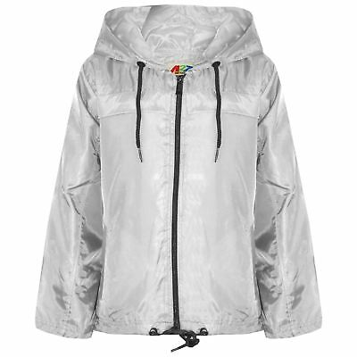 Kids Girls Boys White Hooded Raincoats Cagoule Lightweight Jackets Rain Mac 5-13