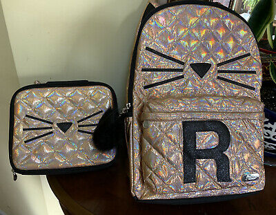 NWT Justice Backpack Gold Cat Quilted Style-Letter ~R~Full Size Gold Backpack!