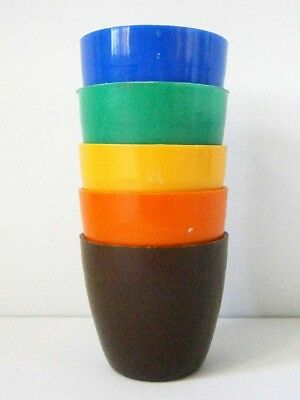 Retro Vintage Set Of Five Funky Harlequin Plastic Egg Cups