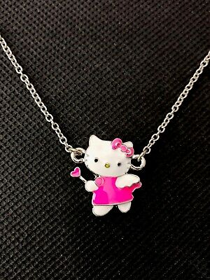 Sanrio Hello Kitty Girls Women's Kids Pink Angel Bow Pendant Necklace Brand New