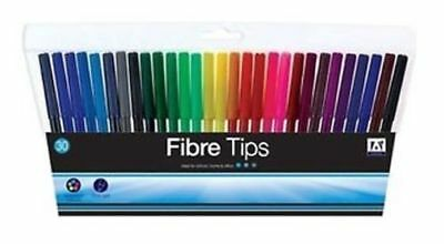 30 Pack Felt Tip Pens Drawing Markers Painting Colouring Art School UK POST