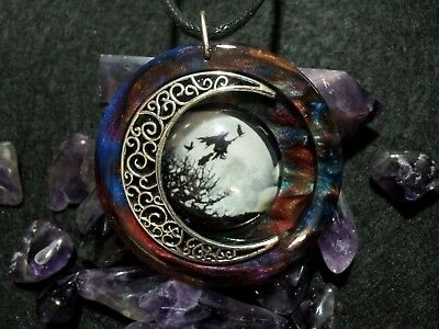 Witch and Moon Pendant, Wiccan Jewelry, Pagan, Witchcraft, Witch and Broom,Cat