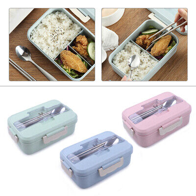 Student Lunch Box Wheat Straw Bento Box Food Storage Container Spoon Chopsticks