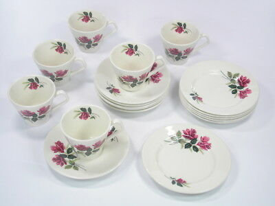 1950s VINTAGE LORD NELSON 18 PIECE TEA SET PINK ROSES